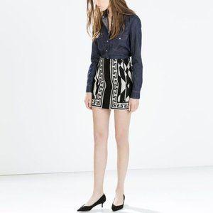 ZARA | Geometrical Print Black & White Mini Skirt